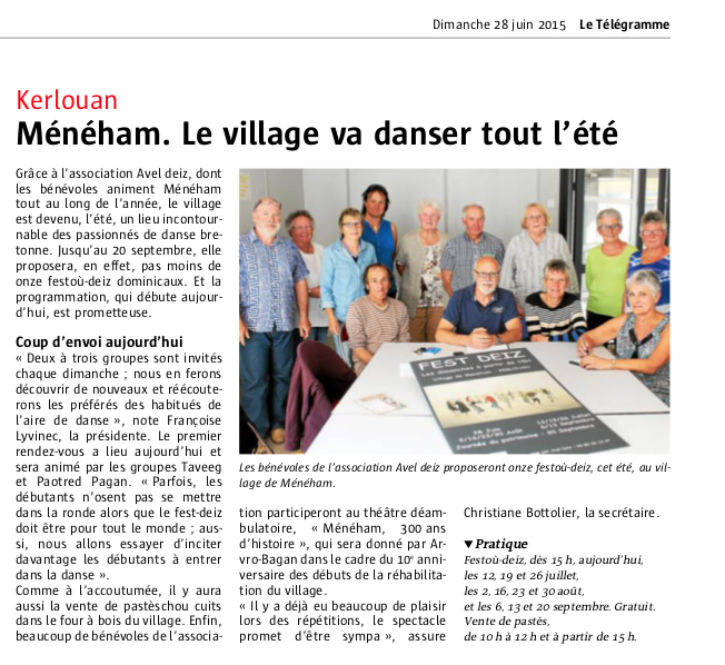 Article le telegramme 28 06 15 fest deiz 2015